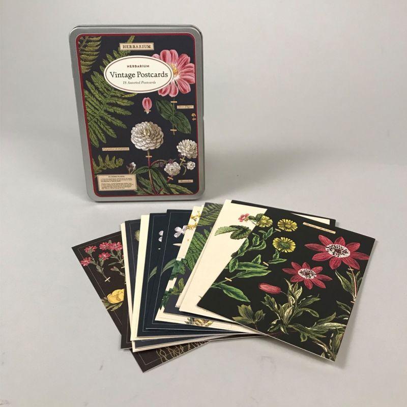 Postkort i metalæske med blomstermotiv 1