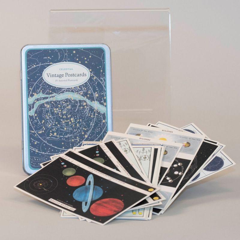 Postkort i metalæske med motiv af stjernehimmel og planeter 1