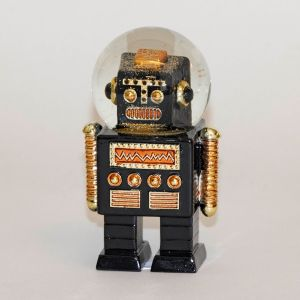 Robot Glimmerkugle Sort 13 cm høj